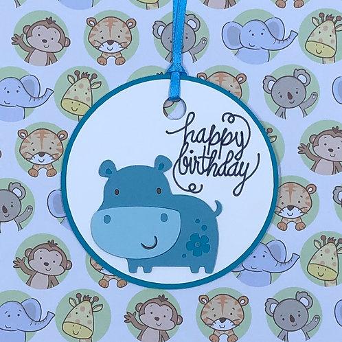 Happy Birthday Hippo Gift Tag