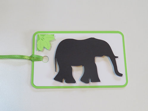 Elephant Silhouette with Corner Decoration Gift Tag