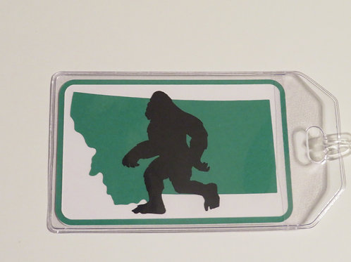 Big Foot Silhouette Walking Across Montana Luggage Tag