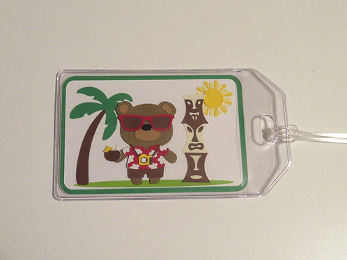 Tourist Bear on Tropical Vacation Luggage Tag