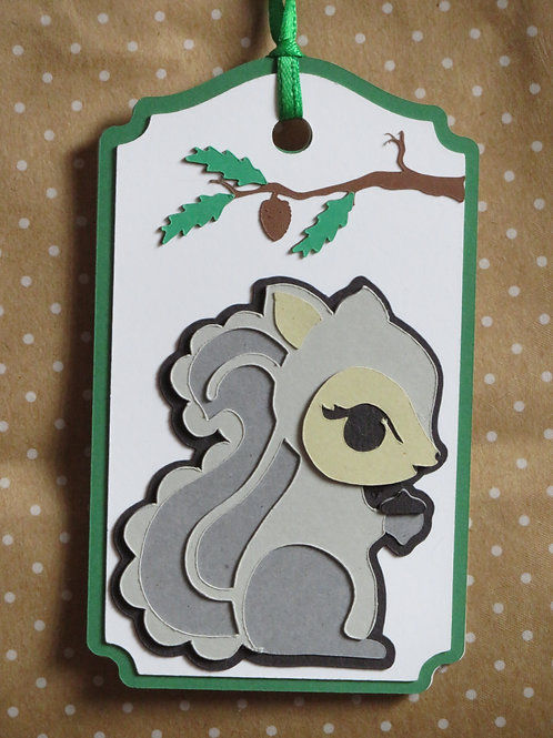 Gray Squirrel Gift Tag
