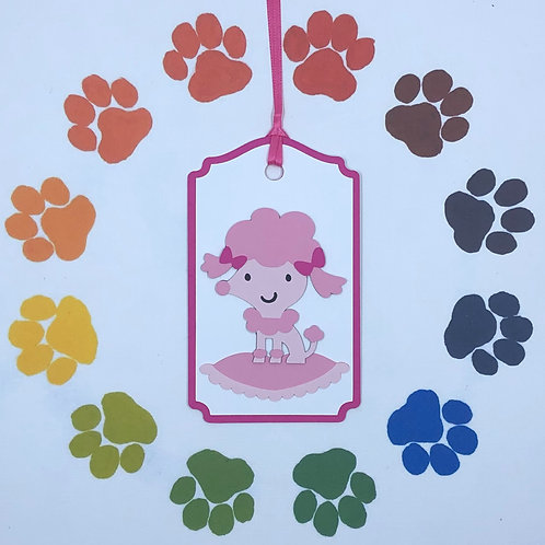 Pretty Pink Poodle Puppy on Plush Pillow Gift Tag