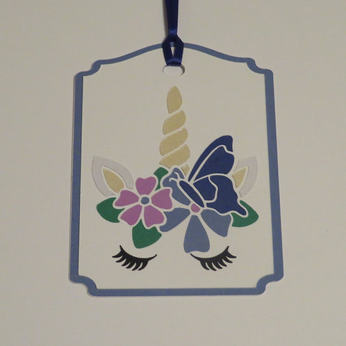 Unicorn Face with Flowers and Butterfly Gift Tag