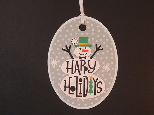 Happy Holidays Snowman Gift Tag