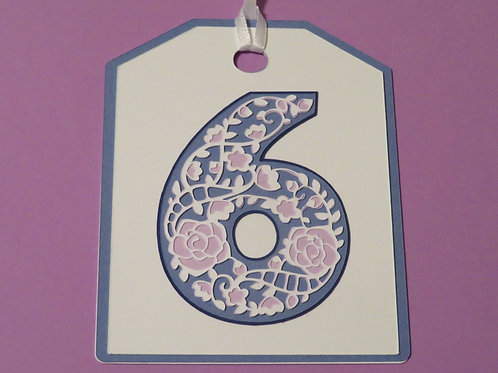 "Ornate Lace-like Number ""6"" Monogram Gift Tag"