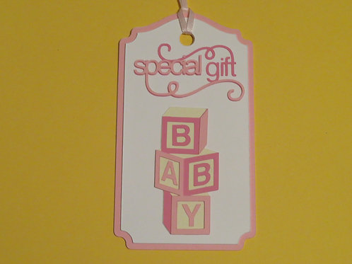 Special Gift Baby Blocks in Pink Gift Tag