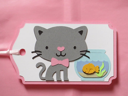 Cat and Goldfish in Bowl Gift Tag