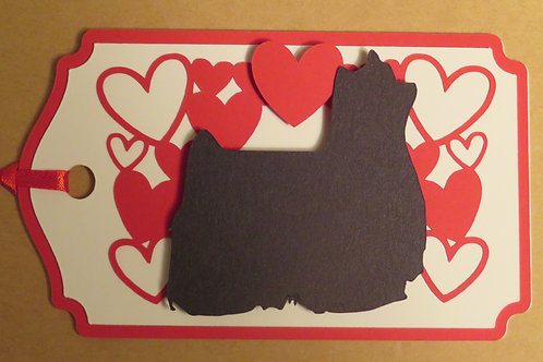 Show Yorkie Silhouette Under Canopy of Hearts