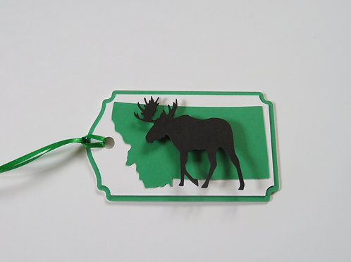 Moose Silhouette on State of Montana Gift Tag