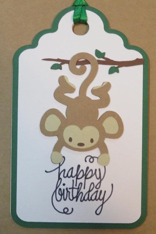 Happy Birthday Hanging Monkey Gift Tag