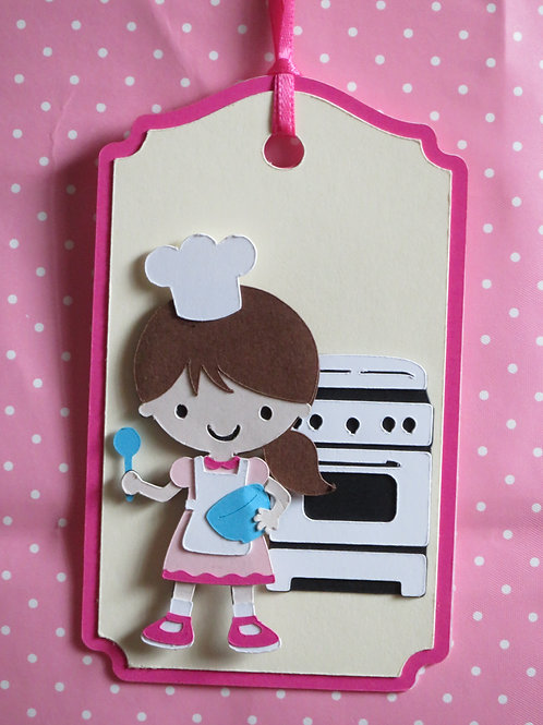 Baking Chef Girl in Front of Oven Gift Tag