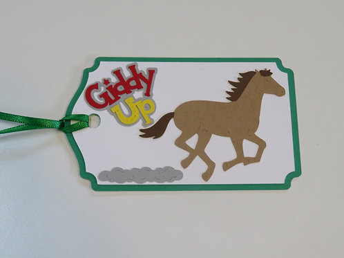 Giddy Up Galloping Horse Gift Tag