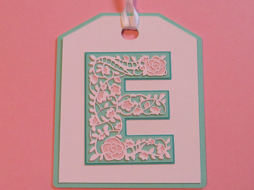 "Ornate Lace-like Letter ""E"" Monogram Gift Tag"