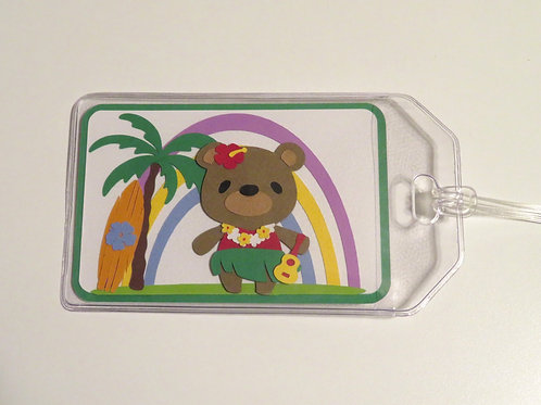Tropical Hula Bear Luggage Tag