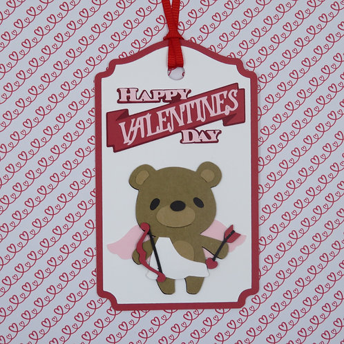 Happy Valentine's Day Cupid Bear Gift Tag