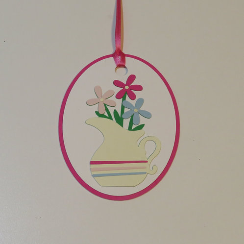 Colorful Flowers in Striped Water Pitcher Gift Tag