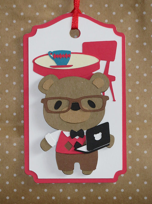 Coffee Shop Laptop Computer Nerd Bear Gift Tag