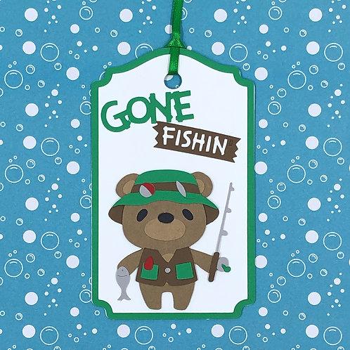 Gone Fishin' Bear Gift Tag