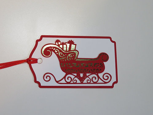 Gold Foil and Red Santa's Sleigh Gift Tag