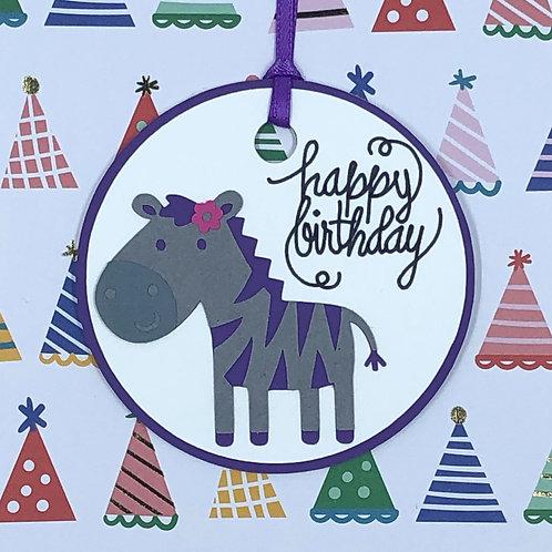Happy Birthday Zebra Gift Tag