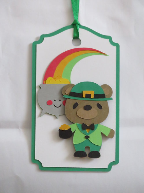 St. Patrick's Leprechaun Bear, Rainbow and Pot of Gold Gift Tag