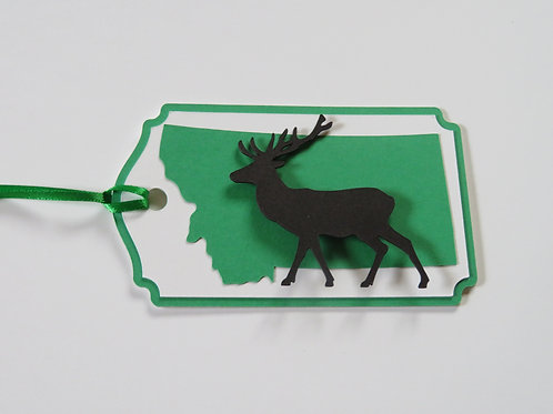 Elk Silhouette on State of Montana Gift Tag