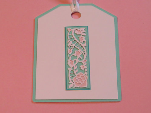 "Ornate Lace-like Letter ""I"" Monogram Gift Tag"