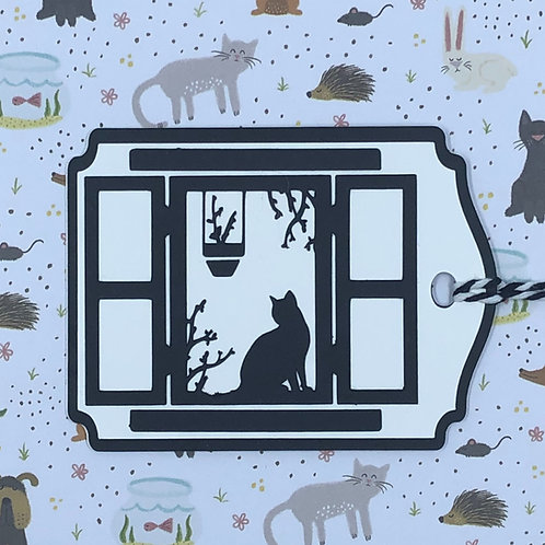 Silhouette of Cat in Windowsill Gift Tag