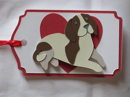 Beagle in Front of Large Red Heart Gift Tag