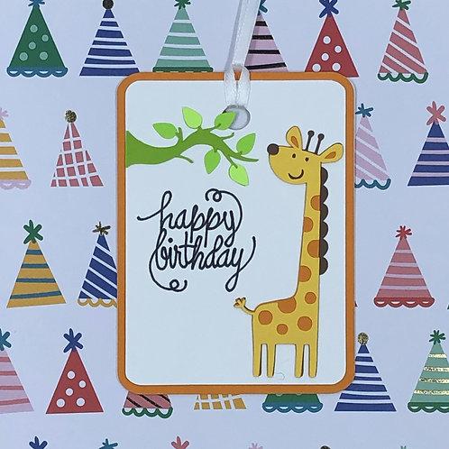Happy Birthday Giraffe Gift Tag
