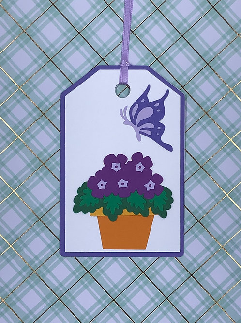 African Violets in Pot with Butterfly Gift Tag