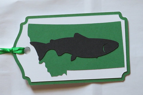 Trout Silhouette on State of Montana Gift Tag