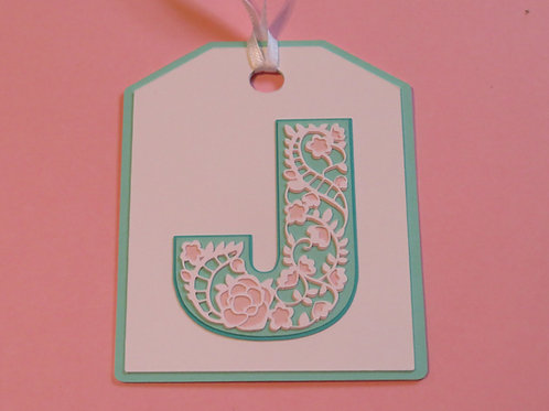 "Ornate Lace-like Letter ""J"" Monogram Gift Tag"