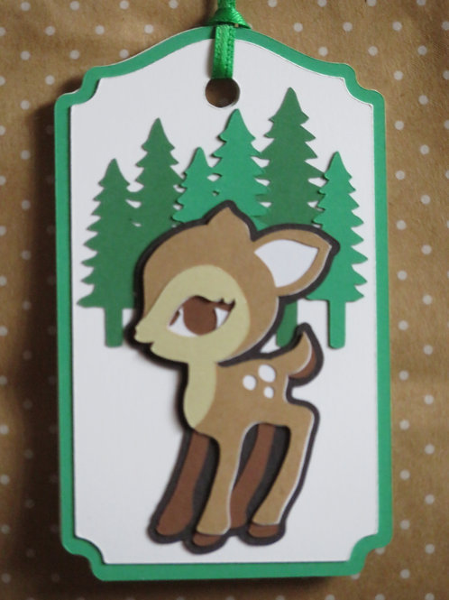 Large-Eyed Deer in Forest Gift Tag