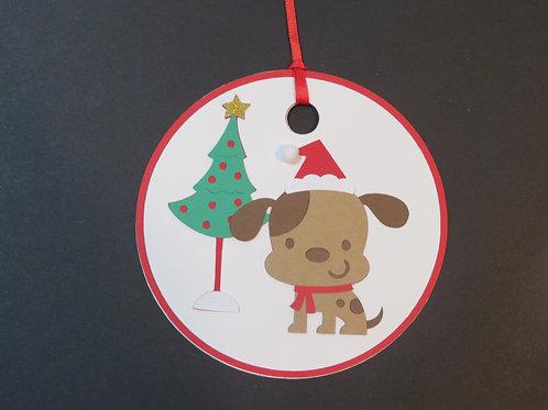 Santa Paws with Christmas Tree Gift Tag