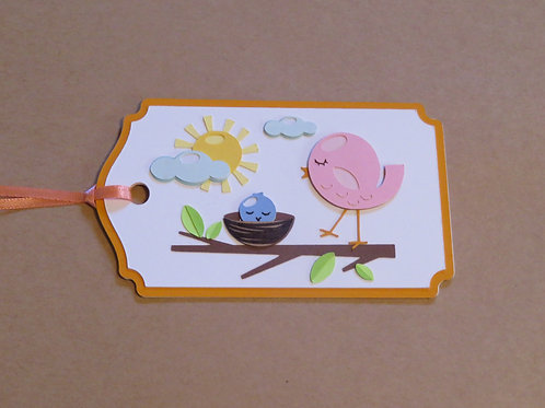 Mama Bird with Baby Bird in Nest Gift Tag