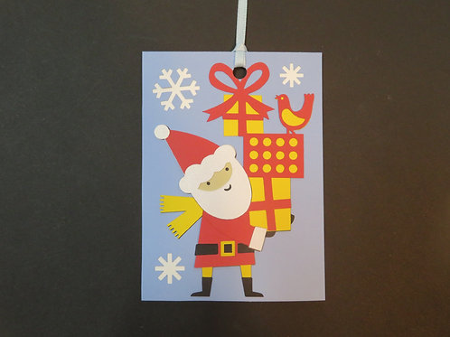 Santa with Stack of Presents Gift Tag