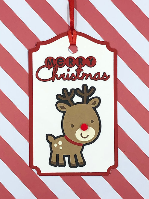 Merry Christmas Young Rudolph Gift Tag