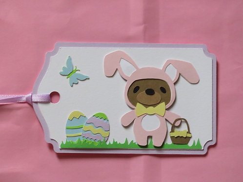 Teddy Bear Easter Bunny Gift Tag