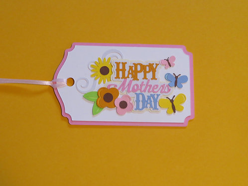 Happy Mother's Day Butterflies and Flowers Gift Tag