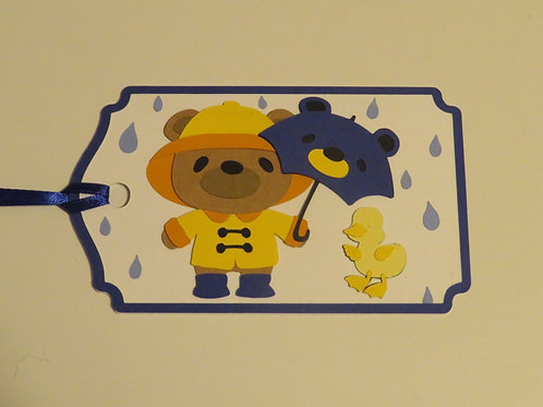 Rainy Day Bear with Duckling Gift Tag