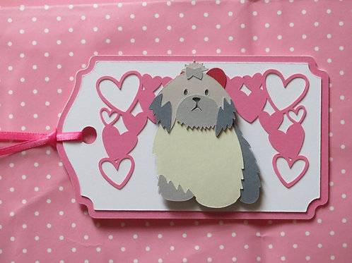 Lhasa Apso Under Canopy of Hearts Gift Tag