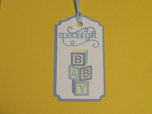 Special Gift Baby Blocks in Blue Gift Tag