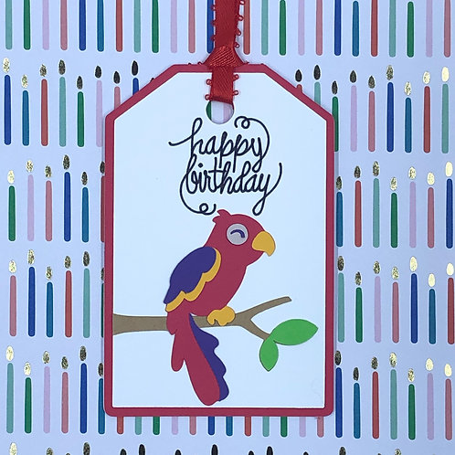 Happy Birthday Parrot Gift Tag