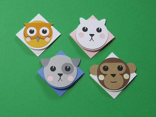 Cute Dog, Cat, Owl, and Monkey Corner Bookmarks - 4 Pack