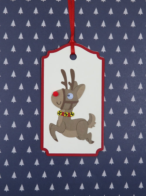 Many Poses of Rudolf Pose 2 Gift Tag