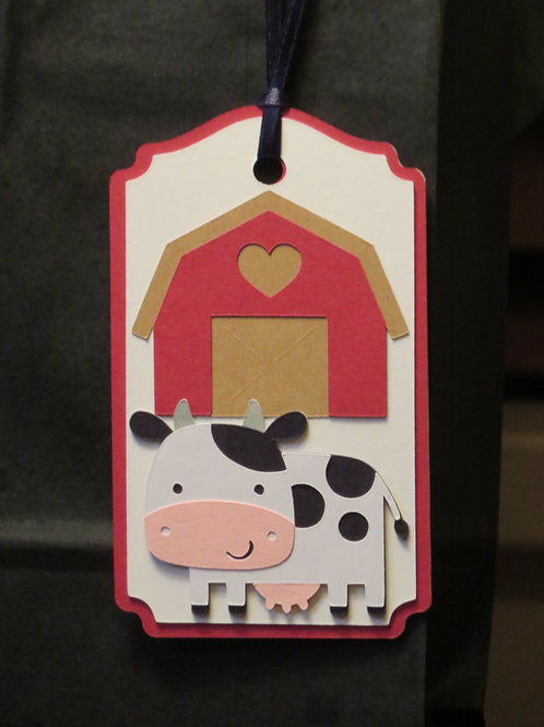 Dairy Cow in Front of Barn Gift Tag