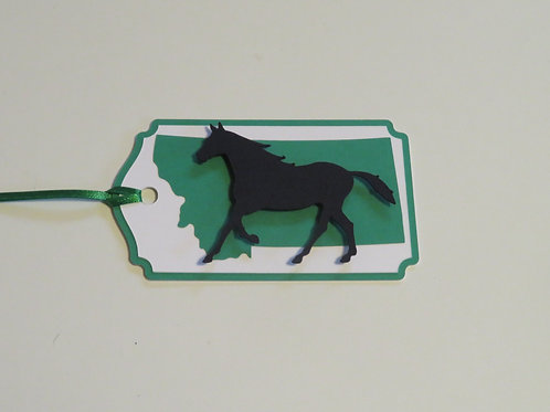 Horse Silhouette on State of Montana Gift Tag