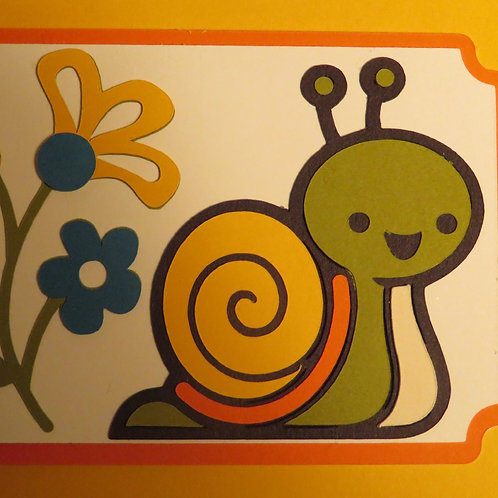 Snail and Flowers Gift Tag