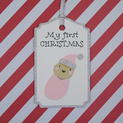 My First Christmas Infant Girl Gift Tag